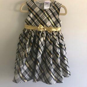 Nanette Kids Black and Gold Shimmery Dress 2T